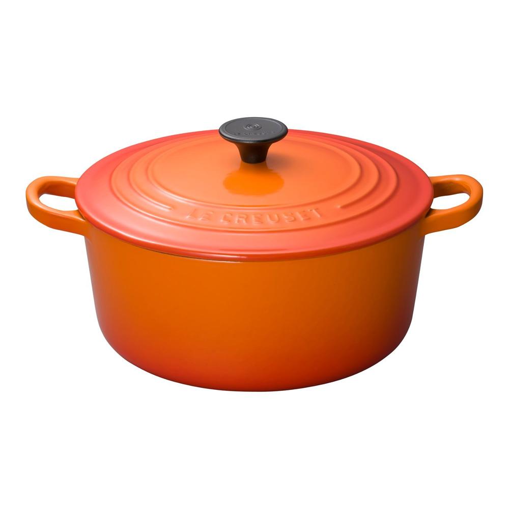 みんなに愛される王道のホーロー鍋!ルクルーゼ ココット ロンド ホーロー 鍋 IH 対応 22cm オレンジ 2501-22-09
